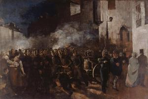 Firemen Running to a Fire by Gustave Courbet
