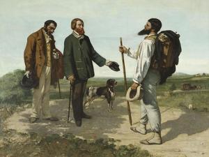 """La rencontre ou """"Bonjour Monsieur Courbet"""" by Gustave Courbet"""