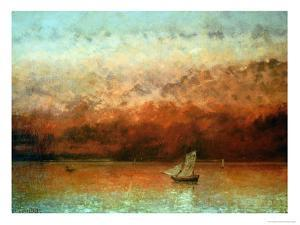 Lake Geneva at Sunset by Gustave Courbet