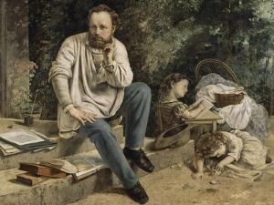 Pierre-Joseph Proudhon et ses enfants en 1853 by Gustave Courbet