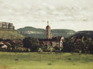View of Ornans and its Bell Tower, C.1858 by Gustave Courbet