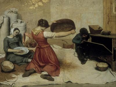 Winnowing Wheat by Gustave Courbet