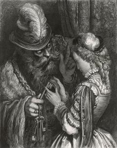 Bluebeard Warns Her About the Key to the Room She is Forbidden to Enter by Gustave Dor?