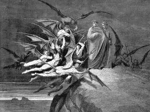 Dante and Virgil Beset by Demons on their Passage Through the Eighth Circle, 1861 by Gustave Dor?