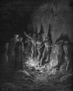 Dante and Virgil Watch as the Procession of the Damned Walk Barefoot Through the Flames of Hell by Gustave Dor?