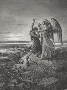 Jacob Wrestling with the Angel, Genesis 32:24-32, Illustration from Dore's 'The Holy Bible',… by Gustave Dor?