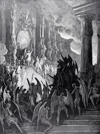 Satan in Council, from Book I of 'Paradise Lost' by John Milton (1608-74) Engraved by Stephane…