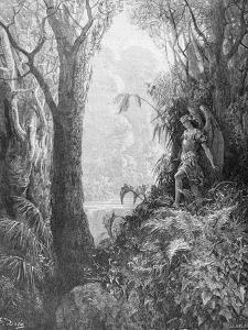Satan in Paradise, from Book IV of 'Paradise Lost' by John Milton (1608-74) Engraved by Charles… by Gustave Dor?