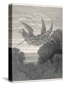 The Angels Ithuriel and Zephon Fly with Sword and Lance by Gustave Dor?