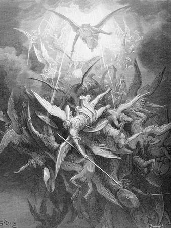 The Fall of the Rebel Angels, from Book I of 'Paradise Lost' by John Milton (1608-74) C.1868
