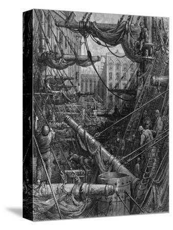 Chaotic Scene of Ships Dockers and Warehouses