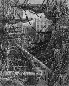 Chaotic Scene of Ships Dockers and Warehouses by Gustave Doré