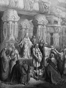 Cyrus restores the vessels to the temple - Bible by Gustave Dore