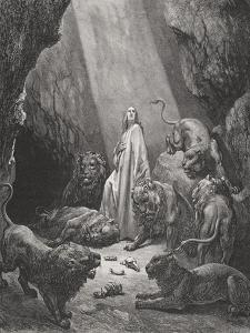 Daniel in the Den of Lions, Daniel 6:16-17, Illustration from Dore's 'The Holy Bible', Engraved… by Gustave Doré
