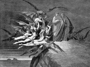 Dante and Virgil Beset by Demons on their Passage Through the Eighth Circle, 1861 by Gustave Doré