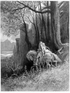 Geraint and Enid Ride Away, Illustration from 'Idylls of the King' by Alfred Tennyson by Gustave Doré
