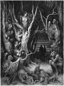 """Harpies, Illustration from """"The Divine Comedy"""" by Dante Alighieri Paris, Published 1885 by Gustave Doré"""