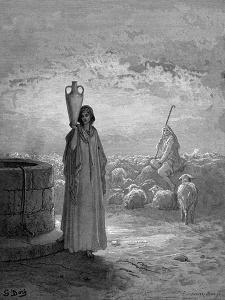 Jacob, Keeping Laban's Flocks, Sees Rachel at the Well, 1866 by Gustave Doré