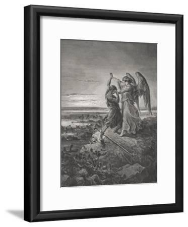 Jacob Wrestling with the Angel, Genesis 32:24-32, Illustration from Dore's 'The Holy Bible',…
