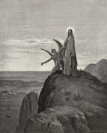 Jesus is Tempted by Satan in the Wilderness by Gustave Doré