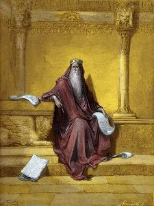 King Solomon engraving by Gustave Doré - Bible by Gustave Dore