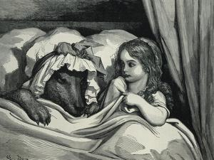 Little Red Riding Hood and Wolf Dressed as Her Grandmother by Gustave Doré