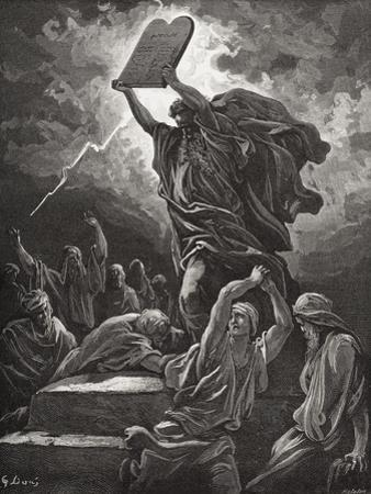 Moses Breaking the Tablets of the Law, Exodus 32:19, Illustration from Dore's 'The Holy Bible',…