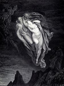 Paolo and Francesca in the whirlwind of lust and torture. From The Divine Comedy by Dante Alighieri by Gustave Dore