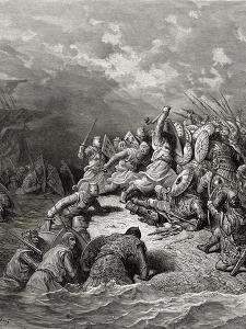 Richard I (1157-99) the Lionheart Delivering Jaffa, Illustration from 'Bibliotheque Des… by Gustave Doré