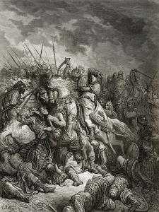 Richard I (1157-99) the Lionheart in Battle at Arsuf in 1191, Illustration from 'Bibliotheque Des… by Gustave Doré