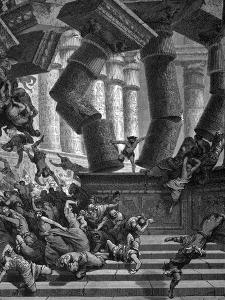Samson Bringing Down the Temple of Dagon, 1866 by Gustave Doré