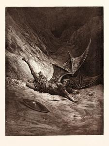 Satan Smitten by Michael by Gustave Dore