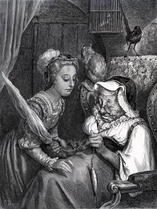 Sleeping Beauty: Princess and Fairy Spite in turret by Gustave Dore