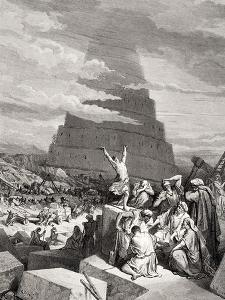 The Confusion of Tongues, Genesis 11:7-9, Illustration from Dore's 'The Holy Bible', Engraved by… by Gustave Doré