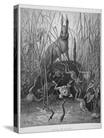 The Hare and the Frogs, from 'The Fables' of La Fontaine, Engraved by Stephane Pannemaker…