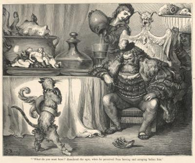 The Ogre Glares at Puss in Boots as He Bows and Scrapes Before Him