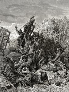 The Siege of Ptolemais, Illustration from 'Bibliotheque Des Croisades' by J-F. Michaud, 1877 by Gustave Doré