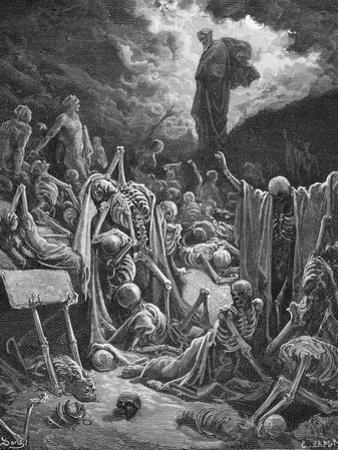 The Vision of the Valley of Dry Bones, Ezekiel 37:1-2, Illustration from Dore's 'The Holy Bible',… by Gustave Doré