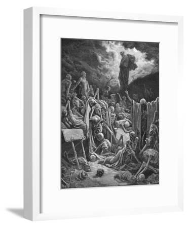 The Vision of the Valley of Dry Bones, Ezekiel 37:1-2, Illustration from Dore's 'The Holy Bible',…