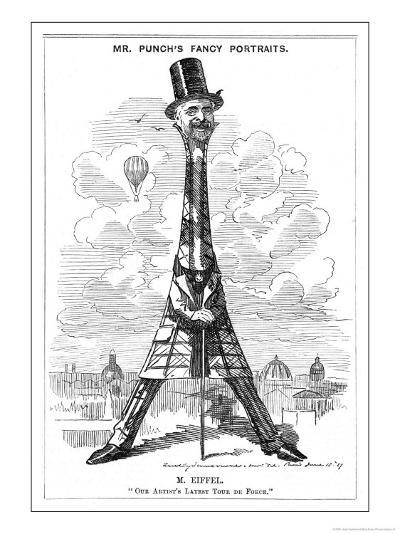 """Gustave Eiffel a Satire on the Recently Built Eiffel Tower: """"Our Artist's Latest Tour de Force""""-Linley Sambourne-Giclee Print"""