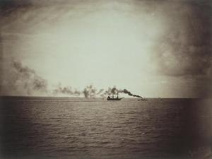The Tugboat, Black and White Image Showing a Small Boat with Three Masts on the Water by Gustave Le Gray