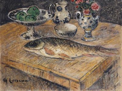 Still Life with Fish, Flowers and Apples; Nature Morte Aux Poisson, Fleurs Et Pommes