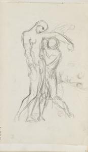 Carnet de dessins : deux personnages debout l'un soutenant l'autre (saint Sébastien secouru) by Gustave Moreau