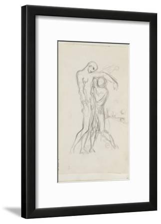 Carnet de dessins : deux personnages debout l'un soutenant l'autre (saint Sébastien secouru)