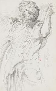 """Carnet de dessins : étude d'homme barbu debout pour """" Le Roi Canut et ses courtisans"""" by Gustave Moreau"""