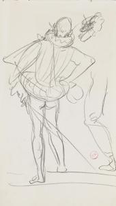 Carnet de dessins : homme de dos portant une épée au côté et vêtu d'un costume renaissance by Gustave Moreau