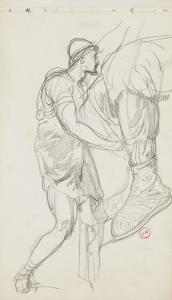 Carnet de dessins : Jambe d'homme portant une chaussure décorées d'ornements by Gustave Moreau