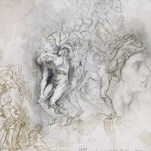 Copie d'après Lorenzo Maitani (4e pilastre de façade, personnages de l'Enfer, cathédrad'Orvieto) by Gustave Moreau