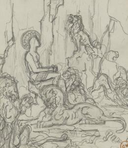 Daniel dans la fosse aux lions by Gustave Moreau