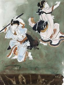 Deux acteurs de kabuki, d'après une estampe japonaise by Gustave Moreau
